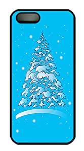 ICORER Luxury iPhone 5S Cases and Covers Christmas Winter Tree In The Snow Case Cover for Apple iPhone 5/ 5S PC Hard Plastic Black