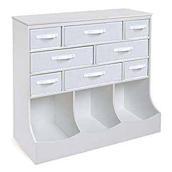 Image of Baby Storage Station 8 Cubby 3 Bin Organizing Unit with Reversible Baskets