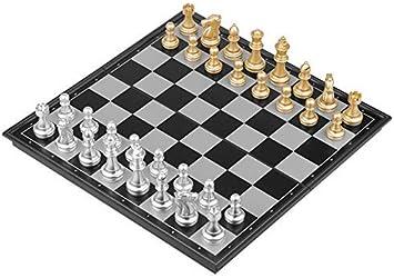 Ajedrez Damas y Backgammon 3 Tamaño Plegable magnética Viaje Juego de ajedrez for niños o Adultos Ajedrez Juego de Mesa (OroPlata Pedazos de ajedrez) Travel Games zhihao: Amazon.es: Juguetes y juegos