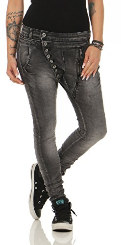 Lexxury Women's Boyfriends Baggy Stretch Jeans Destroyed Look Women's Trousers Hipster Denim Button 1814 Black