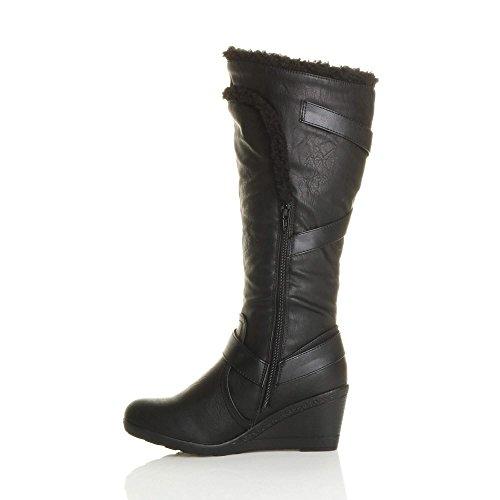 d'hiver de moyen cuissardes fourrure Femmes bordure bottes talon genou pointure xw4HnFqv