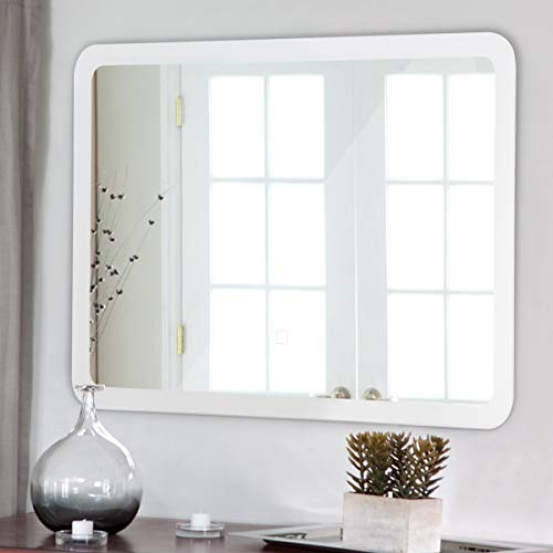 Tangkula LED Bathroom Mirror Rounded Arc Corner Rectangle Wall-Mounted Makeup Vanity Mirror -