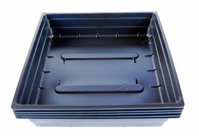 5 Pack of Durable Black Plastic Wheatgrass Growing Trays (With Drain Holes) 10''x10''x2'' - Gardening: Flowers, Microgreens, Seedlings, Plants