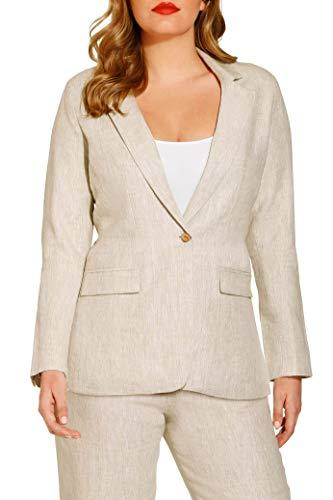 (Boston Proper Women's Casual Linen One-Button Blazer Jacket Flax 16)