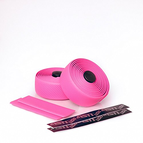 Self-Adhesive Silicone Foam Bicycle Tapes: Pack Of 2 Padded Anti-Slip Handlebar Grips With Micro Diamond Pattern - Shock-Absorbing Bike Handle Bar Wraps For Comfortable And Secure Hold - Diamond Rubber Pink