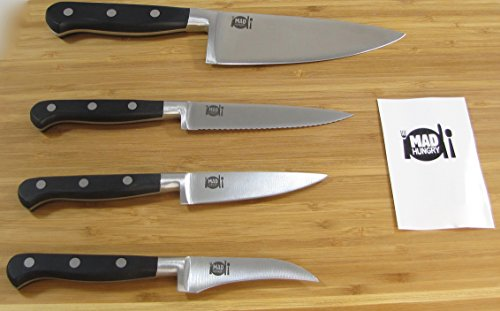 Mad Hungry 4 piece Forged Steel Cutlery Set 5 1/2 Chef Knife, 4 1/2 Serrated Utility Knife, 3 1/2 Paring Knife, 3 Birds Beak Knife (Black)