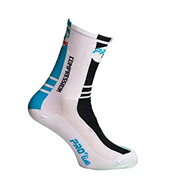 Calcetines Ciclismo Proline Azul Blanco Negro Compression Cycling Socks 1 par