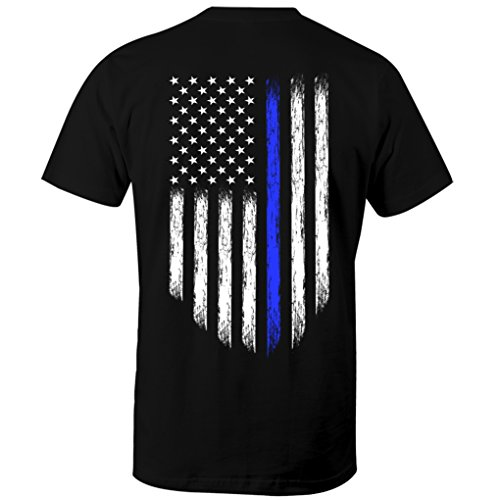 Usa Flag Name (Thin Blue Line USA Flag Leo Police Support Men's T Shirt (5XL))