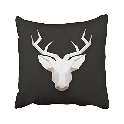 Accrocn Decorative Throw Pillowcase Square 18x18 Inches White Deer Head Three-Dimensional Silhouette Black Background Cotton Decorative Pillow Cover With Hidden Zipper Decor Cushion