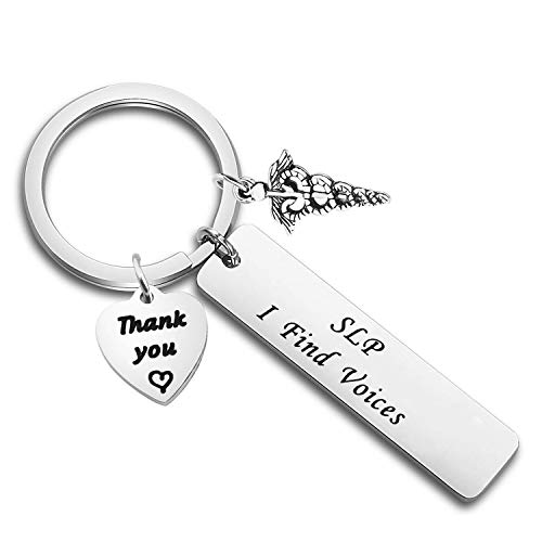 FEELMEM Speech Therapist Gift Appreciation Gift SLP I Find Voice Keychain Speech Language Pathologist Jewelry Thank You Gifts for Speech Teacher Friends (Key-Silver)