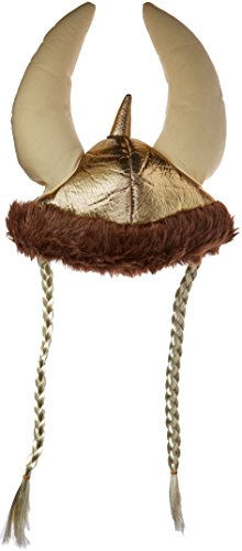 Jacobson Hat Company Women's Plush Metallic Viking Hat with Braids, Gold, One Size