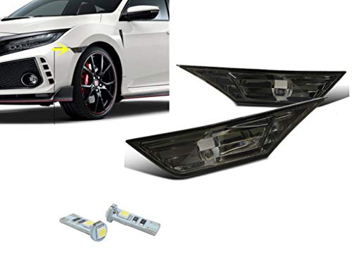 - eLoveQ Front SIDE MARKER SIGNAL LAMPS + T10 SMD LED BULBS FOR 2016-2019 HONDA CIVIC (Smoked Lens with LED Bulbs)