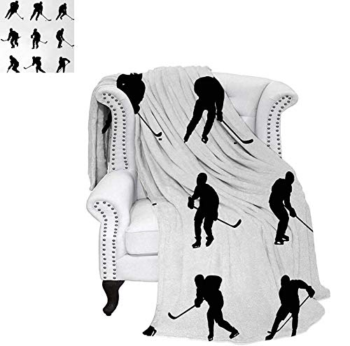 (Velvet Plush Throw Blanket Collection of Player Silhouettes in Black and White Different Positions with Sticks Throw Blanket 60