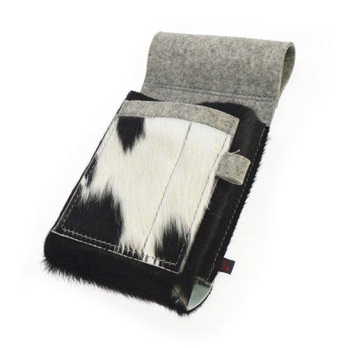 Ebos Borsa cameriere fatto 100% feltro di lana naturale, grigio, e pellame della mucca, nero