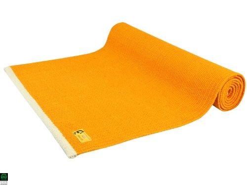 Tapis de yoga pas cher ecologique 100% coton Bio 2 m x 66 cm x 5mm – Orange Safran