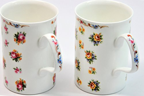 Roy Kirkham Fine Bone China England - PETITE ROSE - Set of Two Coffee Mugs Cups (Petite Rose Cup)