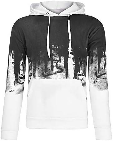 Gradient Hoodies Sweatshirts Mens Autumn Winter Packwork Slim Long Sleeve Top Blouse Beautyfine