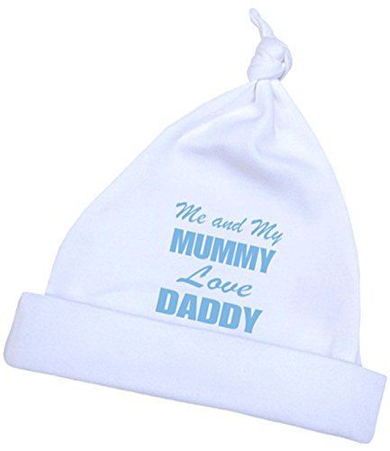 1 'ONE' Me and my Mum Love Daddy Knotted Hat in a choice of 4 Colours. Premature Baby Clothes 3.5lb-7.5lb -