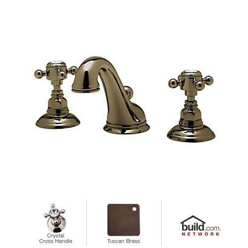 Rohl A1408XCTCB-2 Country Bath Low Lead Widespread Bathroom Faucet with Pop-Up Drain and Swarovski Crystal Cross Handles, Tuscan Brass - Swarovski Crystal Cross Handles