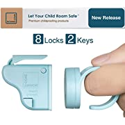Roving Cove | Magnetic Cabinet Locks Child Safety | Safe Lock | Baby Proofing, Child Proof | No Drilling, No Tools, Drawer | 8 Locks + 2 Ring Keys | Ocean (blue)