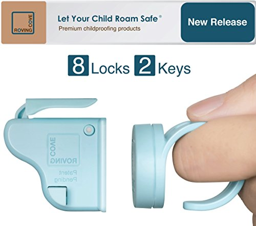 Roving Cove | Baby Proofing Magnetic Cabinet Locks | Child Safety | Safe Lock | Child Proof, No Drilling, No Tools, Drawer | 8 Locks + 2 Ring Keys | Ocean (Blue)