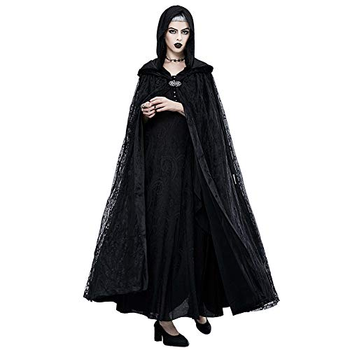 Honfill Women's Lace Cloak Hooded Gothic Cosplay Cape Flower Pattern Long Coat Party Costume Props ()