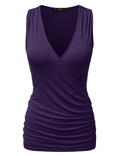 DRESSIS Wrap Front Ruched Side Tank Top PURPLE 3XL