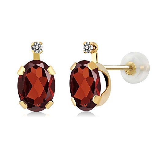 181-ct-oval-red-garnet-white-diamond-14k-yellow-gold-earrings