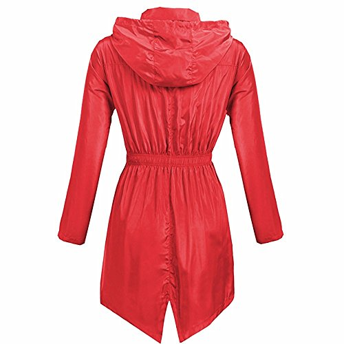 (MOMKER Raincoat Women Waterproof Jacket with Hood Packable Lightweight Rain Jacket Women Windbreaker Red)