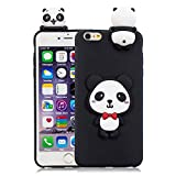 3D Cartoon Animal Case for iPhone 6,Yobby iPhone 6S Cute Kawaii Pattern Case Slim Soft Flexible Rubber Silicone Shockproof Protective Back Cover-Panda Red Bow