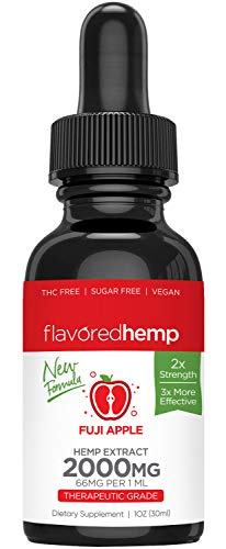 Flavored Hemp Oil - 2000 Mg - Fuji Apple - 100% Organic Hemp Extract Drops - Natural Pain Stress Anxiety Relief & Improves Overall Health - Grown & Made in The USA