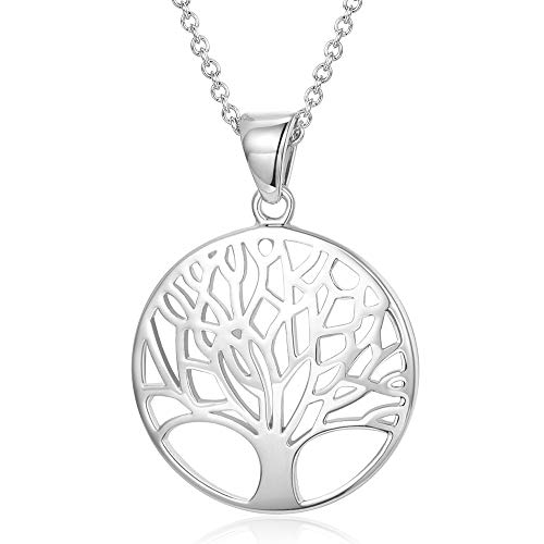 AGVANA Sterling Silver Tree of Life Pendant Necklace Minimalist Jewelry Gifts for Women Girls with Gorgeous Jewelry Box, 16