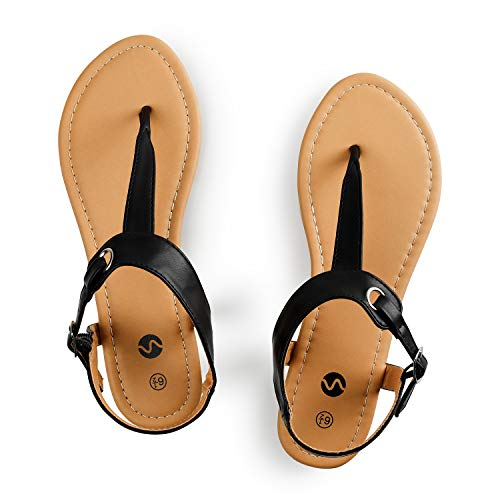 Rekayla Flat Thong Sandals with T-Strap and Adjustable Ankle Buckle for Women Black 08 ()