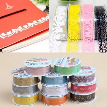 5Pcs DIY Lace Paper Tape Masking Adhesive Sticky Decor