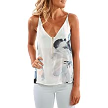 Fashion Story Women's V Neck Strappy Loose T-shirt Tank Top Vest Blouses