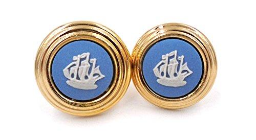 Wedgwood: Gold Plate & Blue Jasperware Earrings