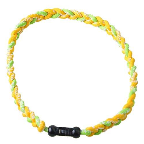 Braid Green Bracelet - Twisted 2 Rope Braided Titanium Ionic Sports Bracelet Baseball Bracelet (Green/Yellow, 8inch)