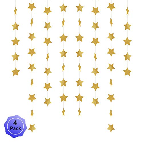 Pop Star Glitter - Star Banner Garland Decorations Stars Paper Birthday Party Banner Twinkle Hanging Bunting Banner Gold Glitter Sparkling Star Garland for Wedding Christmas Halloween Photo Booth Props Golden 4 Pack