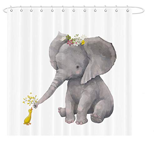 MAEZAP Sitting Elephant for Kids Shower Curtain Cute Duck Bathroom Decor Waterproof Polyester with Hooks 69x70 Inchs
