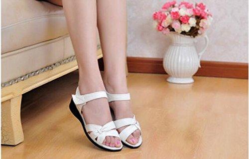 Zormey Plus Size (32-43) Apartamento Sandalias De Verano 2016 Para La Mujer Madre Enfermera Cuero Genuino Zapatos Zapatos Zapatos De Maternidad Las Mujeres Sandalia Plana 10