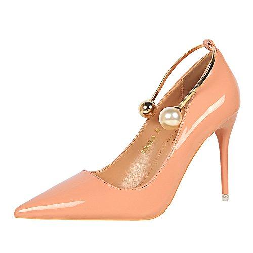 Versión Coreana Delgado Tacón Fino Charol Boca Baja Acentuado Metal Perla Mujer Zapatos Individuales Pink