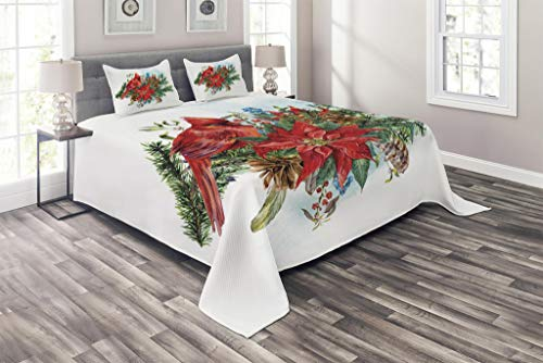 Lunarable Cardinal Coverlet Set King Size, Christmas Themed Bird on Floral Bouquet Poinsettia Pinecones and Berries, 3 Piece Decorative Quilted Bedspread Set with 2 Pillow Shams, Ruby