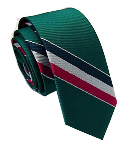 Green Stripe New Designer Necktie (Secdtie Mens Classic Stripe Green Red White Blue Jacquard Woven Silk Tie Necktie)