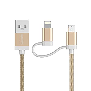 [Apple MFi Certified]papalook Lightning Charging Cable, 2 in 1 Durable Power Adaptor for iPhone,iPod,iPad,Samsung,Sony,Nexus, LG, Motorola, Android Smartphones - 3ft/1M