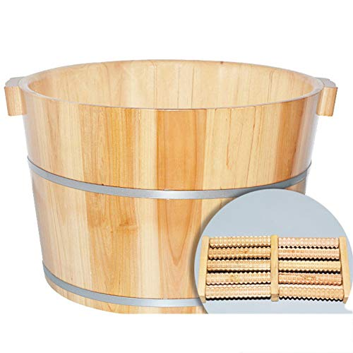 Foot Basin Wooden Bucket Foot Barrels Massage Beads Foot Tub Foot Bath Barrel Wood (38 25cm),AB (Bath Wood Bucket)