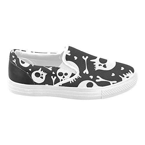 D-story Custom Cool Skull Print Zapatos De Lona Para Mujer Zapatos De Moda Sneaker