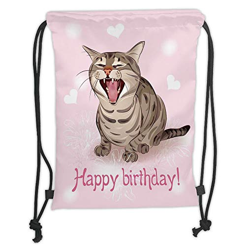New Fashion Gym Drawstring Backpacks Bags,Birthday Decorations,Funny Cat Sings a Greeting Song Pink Backdrop with Hearts Flowers,Baby Pink Brown Soft Satin,Adjustable String Closu -