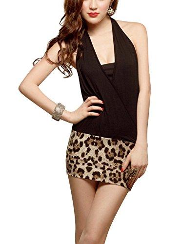 Paplan Mujer Estilo de la moda de la ropa interior de la ropa interior de la falda del halter del leopardo Negro Traje Negro