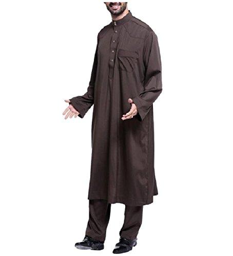 Zimaes Men Saudi Arabia Stand Collar Fine Cotton Muslim Salwar Suit Sets Coffee XL by Zimaes-Men (Image #3)
