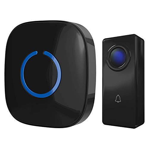 CROSSPOINT Expandable Wireless Multi-Unit Long Range Doorbell Chime Alert System, includes 1 Plug in Receiver and 1 100% Waterproof Transmitter Button, Model C, Gloss Black